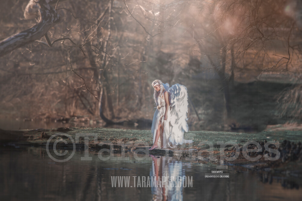 Heavenly Lake - Creamy Lake Pond Scene - Portrait Couture Digital Background by Tara Mapes