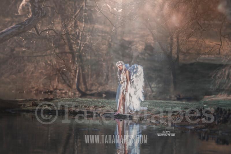 Heavenly Lake - Creamy Lake Pond Scene - Portrait Couture Digital Background by Tara Mapes
