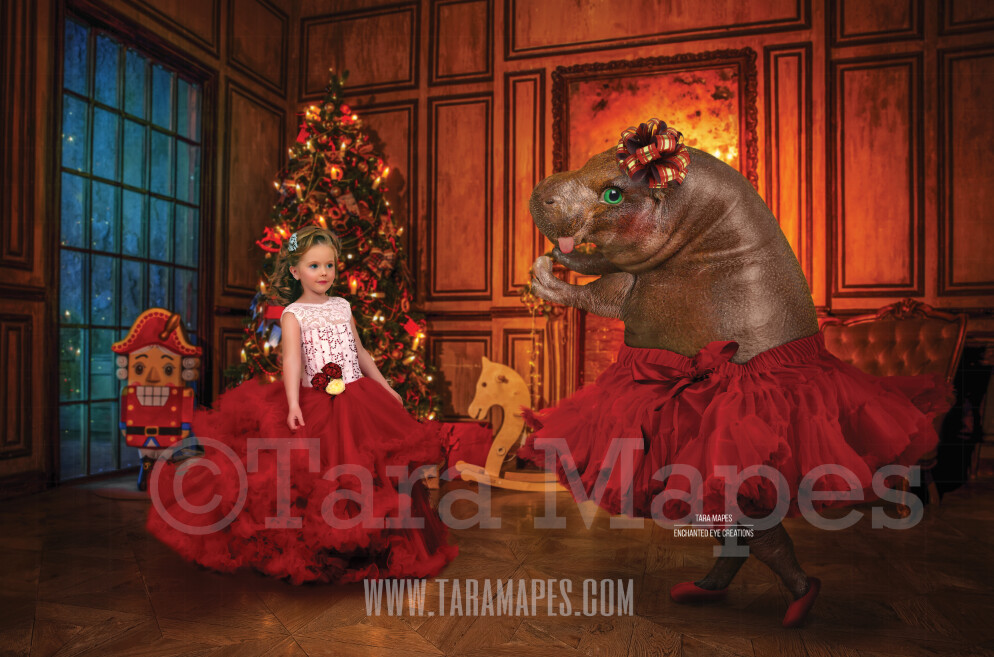 Hippo Dancing - I Want a Hippo Hippopotamus For Christmas - Christmas Hippo with Bow - Digital Background Backdrop
