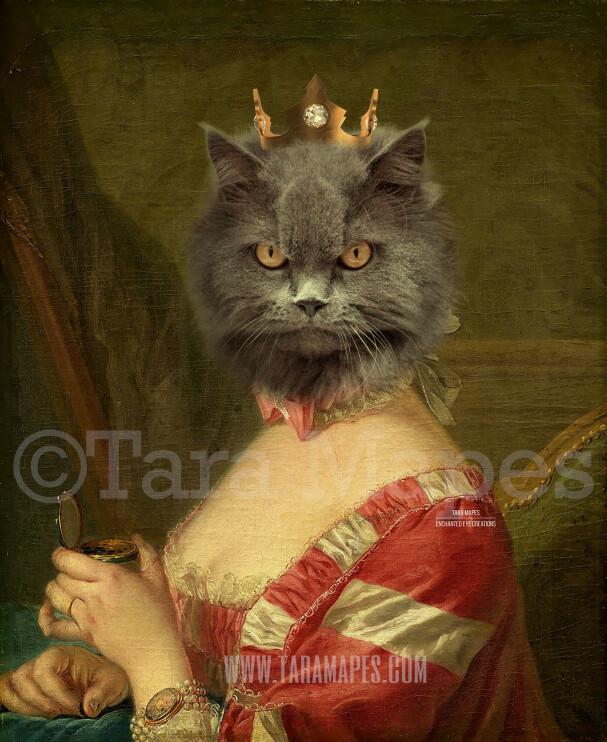 Royal Pet Portrait QUEEN Body PSD Template- Pet Painting Portrait Body 46 - Layered PSD  Digital Background Backdrop