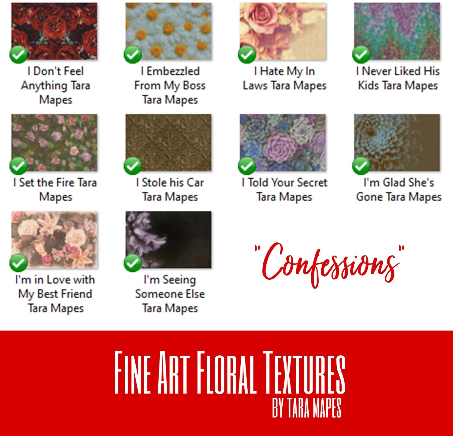 10 Old Masters Floral Textures -Floral Backdrops - Digital Backgrounds - CONFESSIONS Photoshop Overlays by Tara Mapes