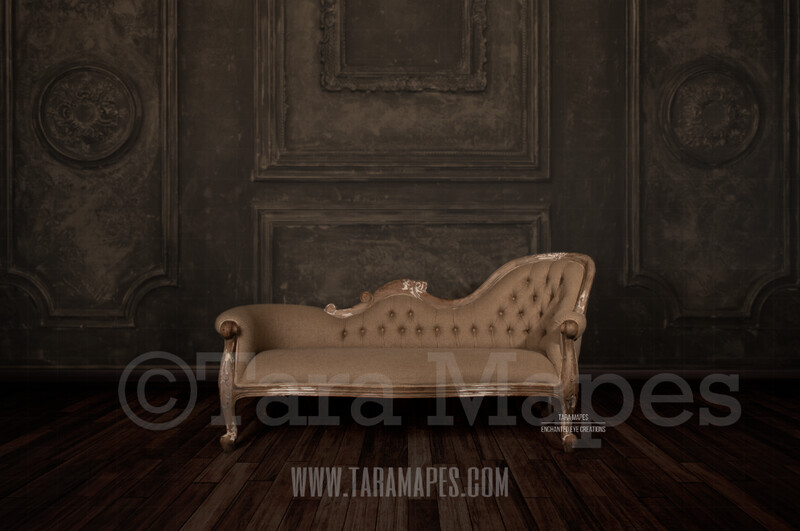 Studio Couch Vintage Wall with Wood Floor and Floral Background Digital Background by Tara Mapes
