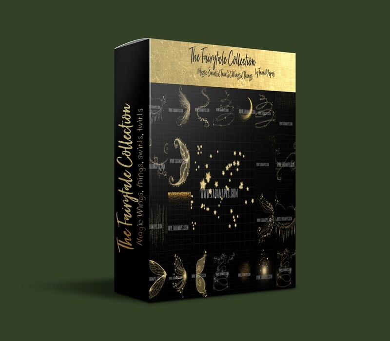 The Ultimate Fairytale Collection- 23 Overlays Magic Wings & Things, Princess Swirls and Twirls - Glowing Sparkles- Stars, Fine Fairy Dust, Glitter Sparkles Overlays