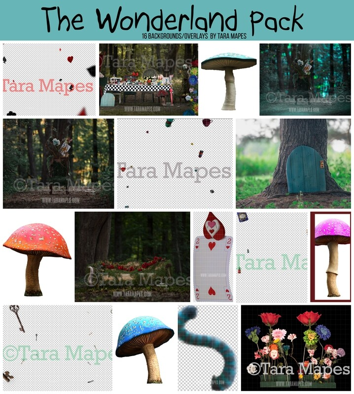 The Wonderland Pack by Tara Mapes - Alice in Wonderland Inspired Digital Backgrounds and Overlays
