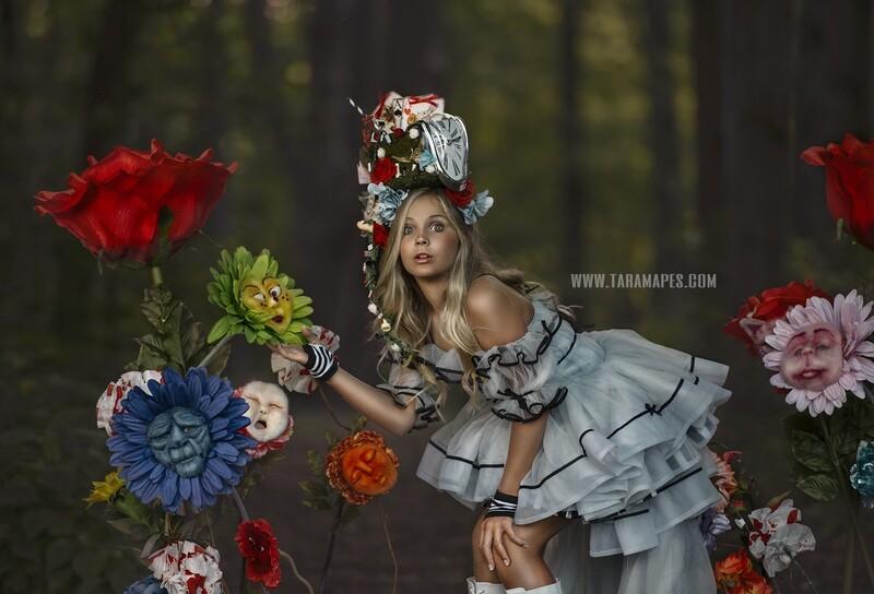 Alice in Wonderland Talking Flowers Digital Background Backdrop