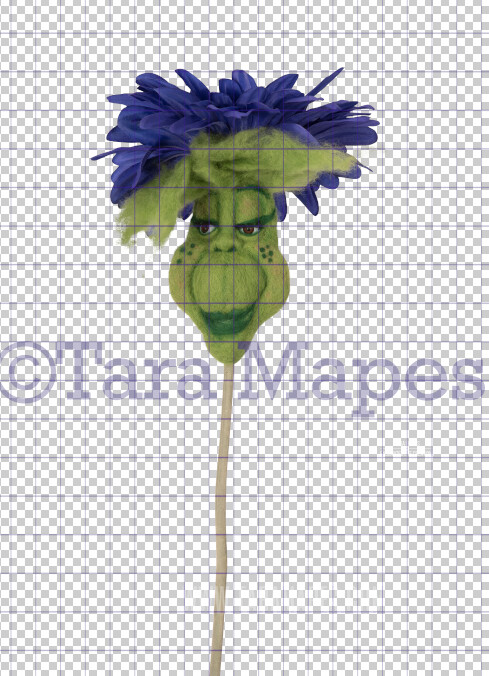 Talking Flower-  Purple Flower with Funny Face Flower- Flower Overlay by Tara Mapes - Alice in Wonderland Inspired PNG - Digital Overlays by Tara Mapes Enchanted Eye Creations