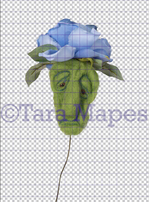 Talking Flower-  Periwinkle Sad Flower with Funny Face- Flower Overlay by Tara Mapes - Alice in Wonderland Inspired PNG - Digital Overlays by Tara Mapes Enchanted Eye Creations