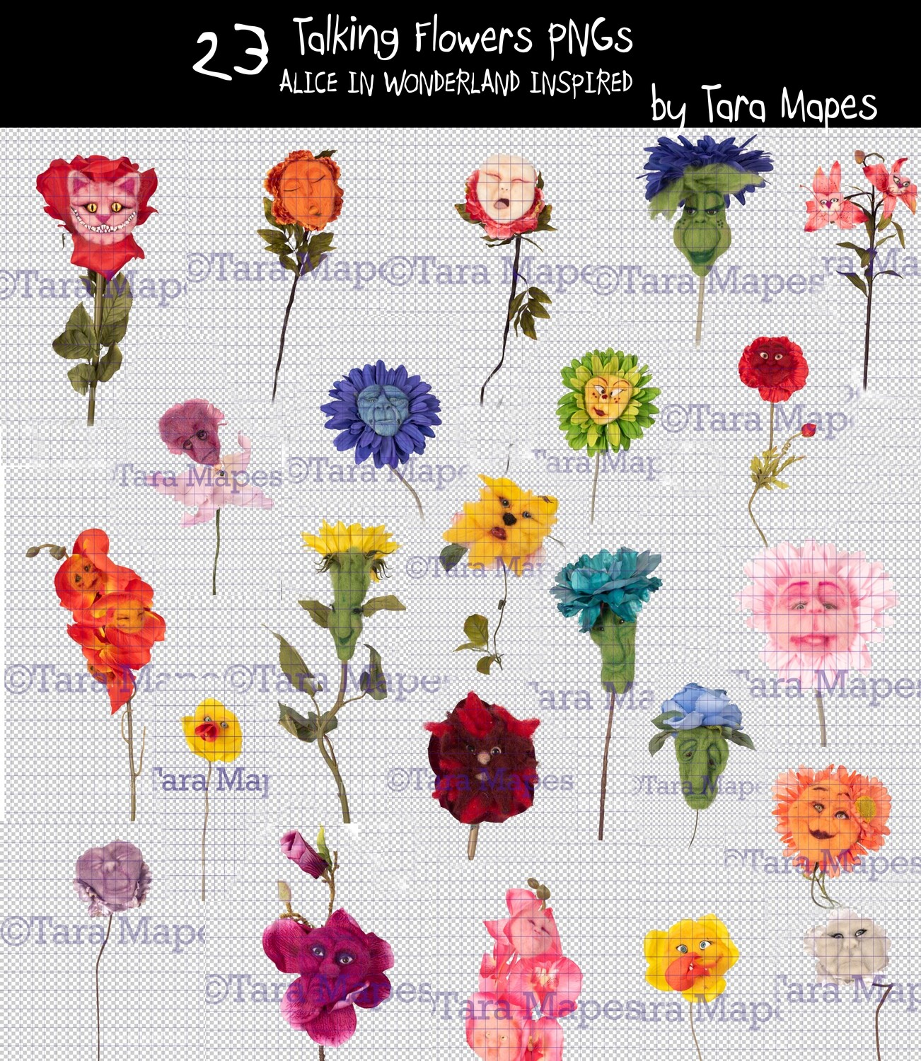 23 Talking Flowers -  Talking Flowers Bundle of 23 Overlays with Funny Faces - Alice in Wonderland Inspired PNG - Digital Overlays by Tara Mapes Enchanted Eye Creations