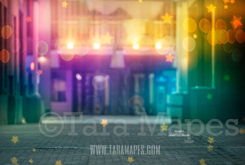 Colorful Alley in City Digital Background Backdrop - Paint the City - Star Overlay Included - City Alley for Portraits Digital Background