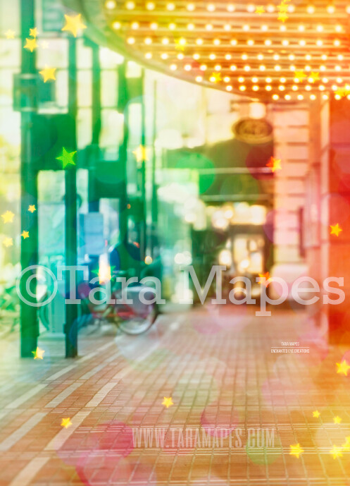 Colorful Street by Theater in City Digital Background Backdrop - Paint the City - Star Overlay Included - City Theater Street for Portraits Digital Background