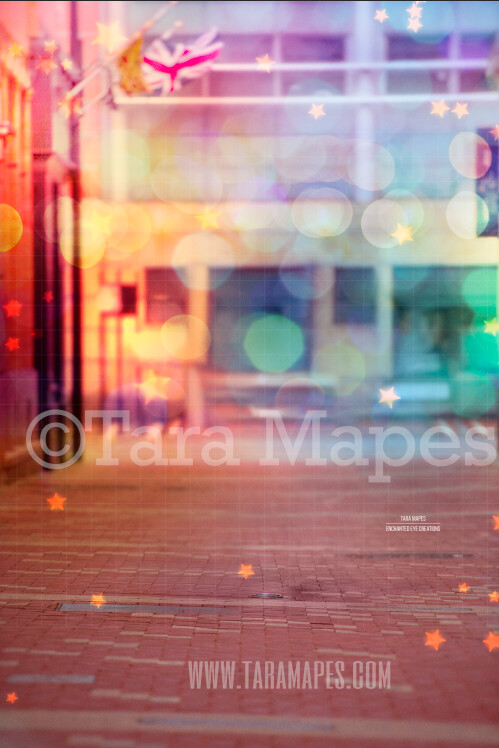 Colorful Alley 2 in City Digital Background Backdrop - Paint the City - Star Overlay Included - City Alley for Portraits Digital Background