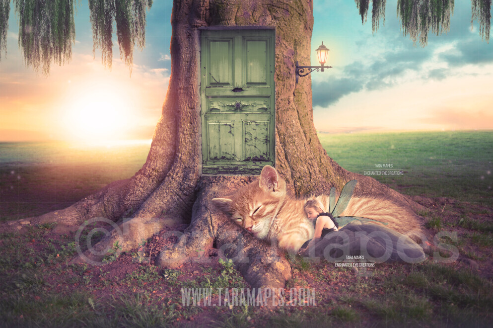 Fairy Tree with Door and Kitten - Fairy Tree Scene - Fairy Home with Cat - Creamy Nature - Digital Background / Backdrop