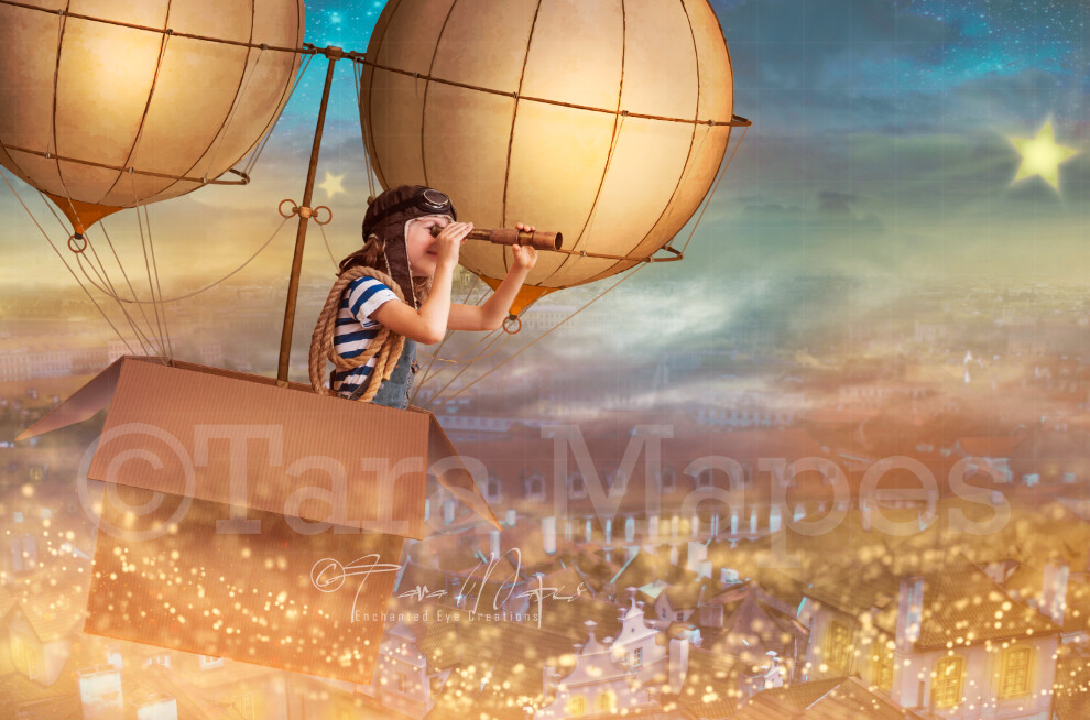 Cardboard Hot Air Balloon over City - Cardboard Steampunk Balloon over Town - Digital Background by Tara Mapes