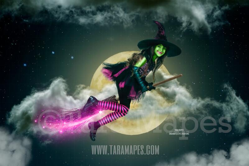 Witch Broom in Moon -  Halloween Moon Magic - Broom in Sky Halloween Digital Background / Backdrop