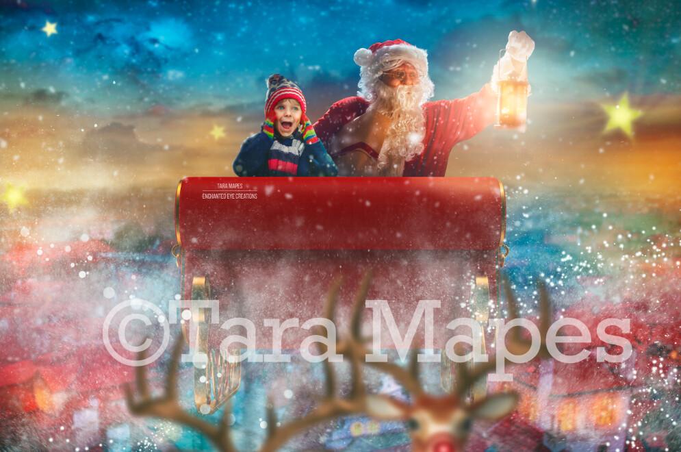 Santa Sleigh Ride Over Christmas Town - North Pole - Christmas Winter Holiday Digital Background Backdrop