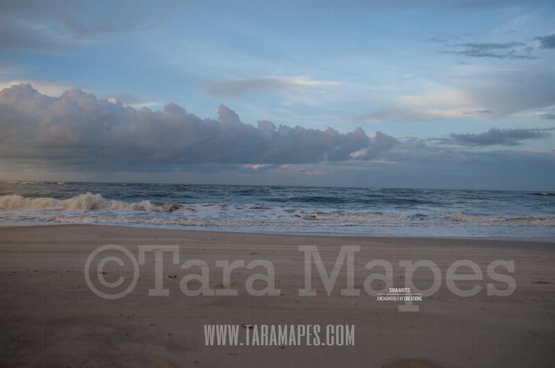 Beach Scene 6  - Beach Cape Bay - Ocean Pier - Pastel Beach Scene - Digital Background Backdrop