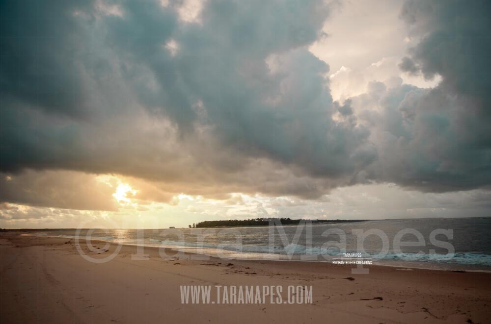 Beach Scene 10  - Beach Cape Bay - Ocean Pier - Pastel Beach Scene - Digital Background Backdrop
