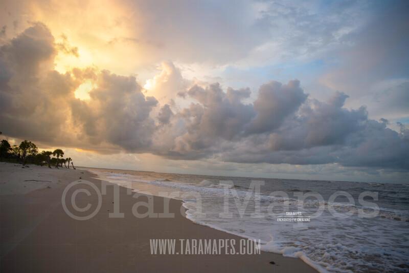 Beach Scene 7  - Beach Cape Bay - Ocean Pier - Pastel Beach Scene - Digital Background Backdrop