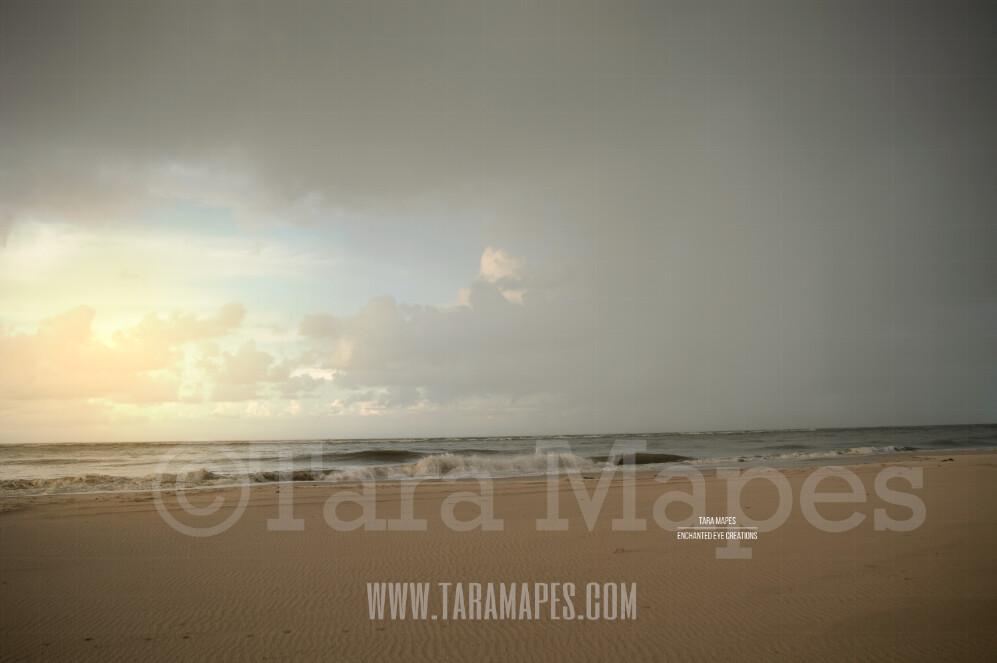 Beach Scene 11  - Beach Cape Bay - Ocean Pier - Pastel Beach Scene - Digital Background Backdrop