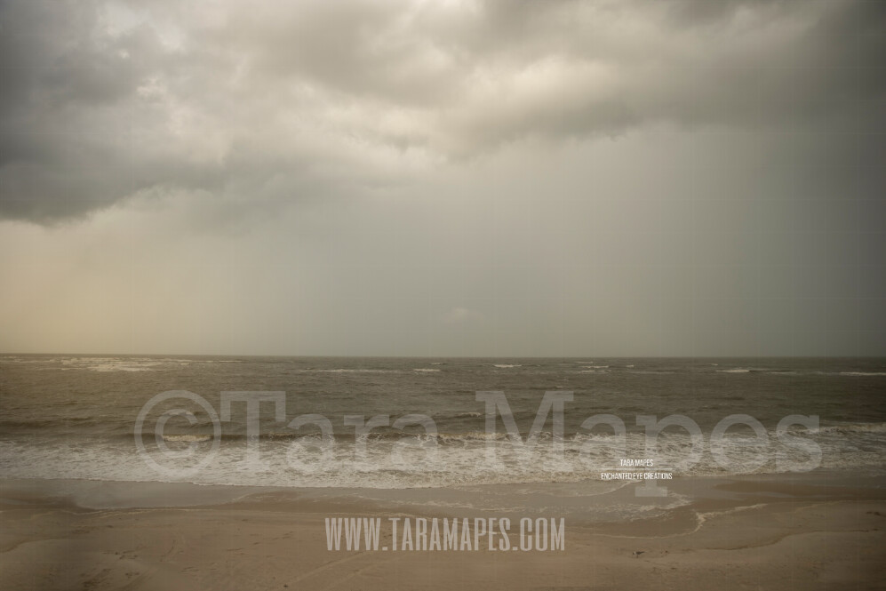 Beach Scene 11  - Stormy Beach Cape Bay - Ocean Pier - Pastel Beach Scene - Digital Background Backdrop