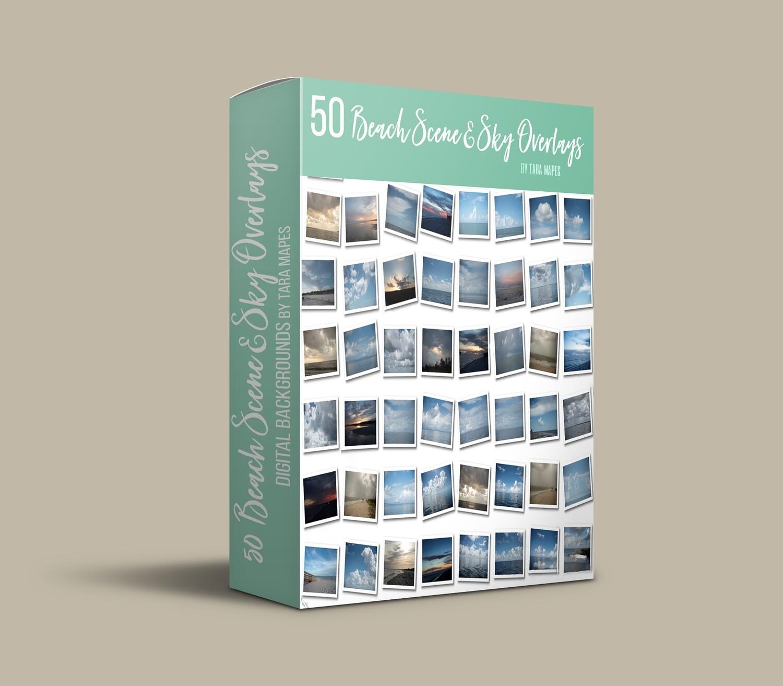 50 Beach Sky and Scene Overlays - Digital Backgrounds - SET OF 50  - Beaches Skies - Ocean Skies and Scenes - Pastel Beach Scenes and Skies - Digital Background Backdrop