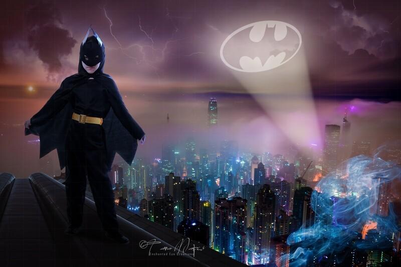 Batman Superhero Over City Digital Background Backdrop