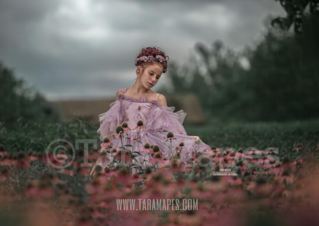 Flowers in Storm Flower Field - Whimsical Flower Field - Dreamy Creamy Stormy Scene- Digital Background by Tara Mapes