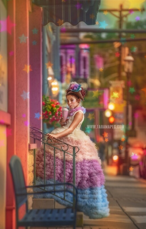 Ice Cream City - Colorful Street Stairs in 50s City Digital Background Backdrop - Paint the City - Star Overlay Included - City Theater Street stairs for Portraits Digital Background
