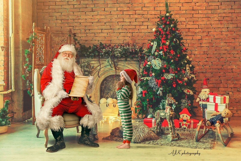 Santa in Chair in Warm Room Reading Naughty or Nice List by Fireplace - Santa with Scroll - The Good List - Christmas Holiday Digital Background Backdrop