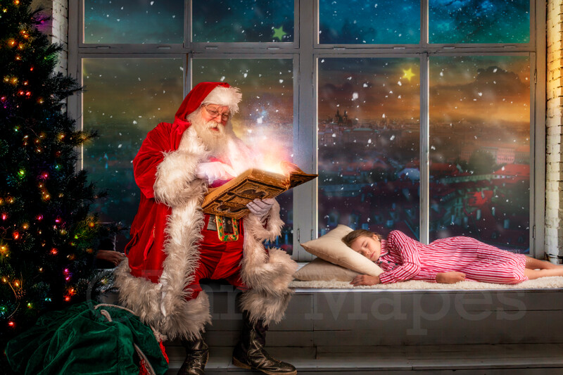 Christmas Window Santa by Window Reading Book - Santa Reading by Christmas Tree - The Good List - Christmas Holiday Digital Background Backdrop