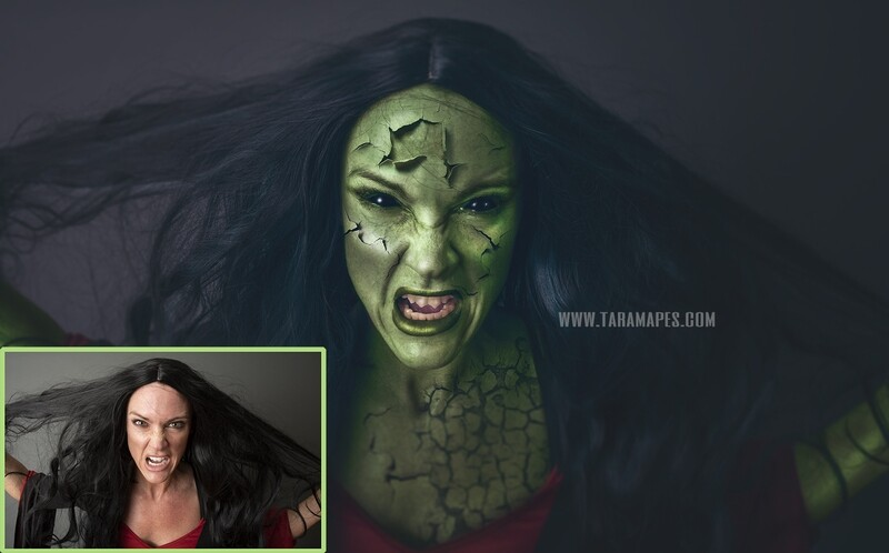 The Witch Halloween - Black Eyes and Cracked Skin Painterly Fine Art Photoshop Tutorial by Tara Mapes