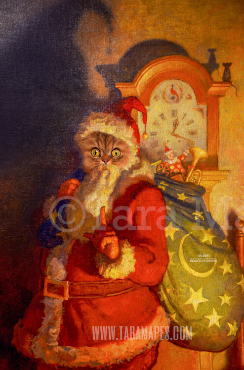 Christmas Santa Pet Portrait PSD Template- Pet Painting Portrait SANTA Body 2  - Layered PSD Digital Background Backdrop