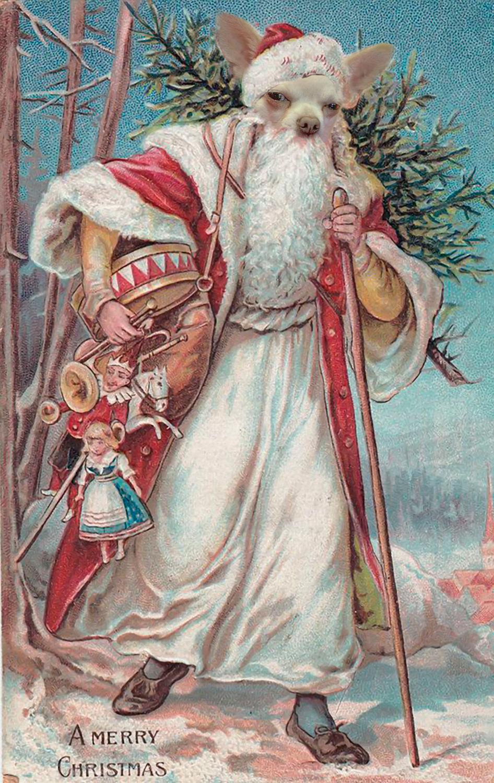 Christmas Santa Pet Portrait PSD Template- St Nicholas Pet Painting Portrait SANTA Body 4  - Layered PSD Digital Background Backdrop