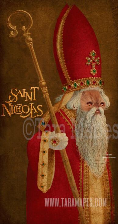 Christmas Santa Pet Portrait PSD Template- St Nicholas Pet Painting Portrait SANTA Body 5  - Layered PSD Digital Background Backdrop