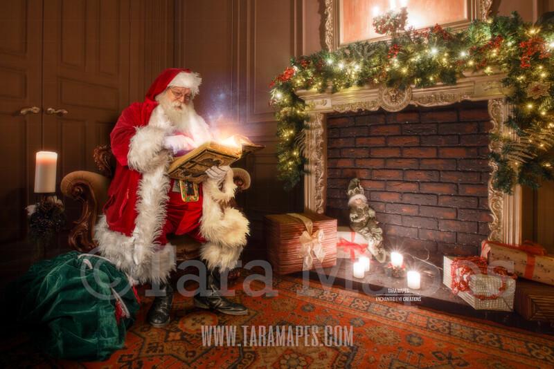Santa by Fireplace Reading Book - Santa Reading Magic Book - The Good List - Christmas Holiday Digital Background Backdrop