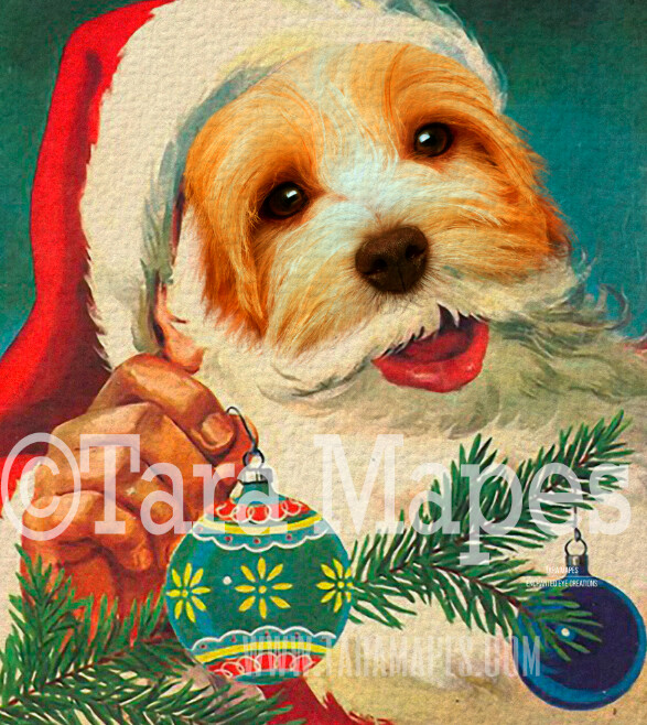 Christmas Santa Pet Portrait PSD Template- St Nicholas Pet Painting Portrait SANTA Body 7  - Layered PSD Digital Background Backdrop