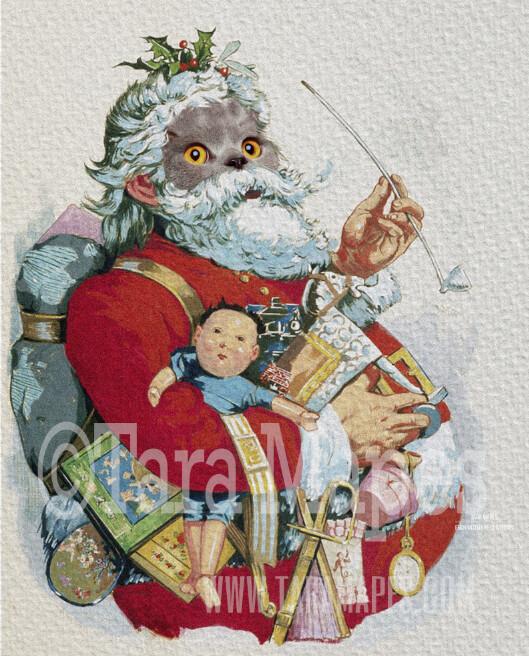 Christmas Santa Pet Portrait PSD Template- St Nicholas Pet Painting Portrait SANTA Body 8  - Layered PSD Digital Background Backdrop