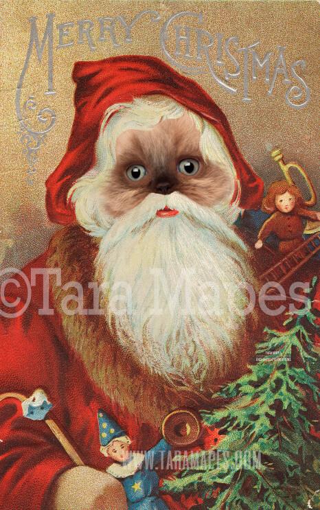 Christmas Santa Pet Portrait PSD Template- St Nicholas Pet Painting Portrait SANTA Body 9 - Layered PSD Digital Background Backdrop