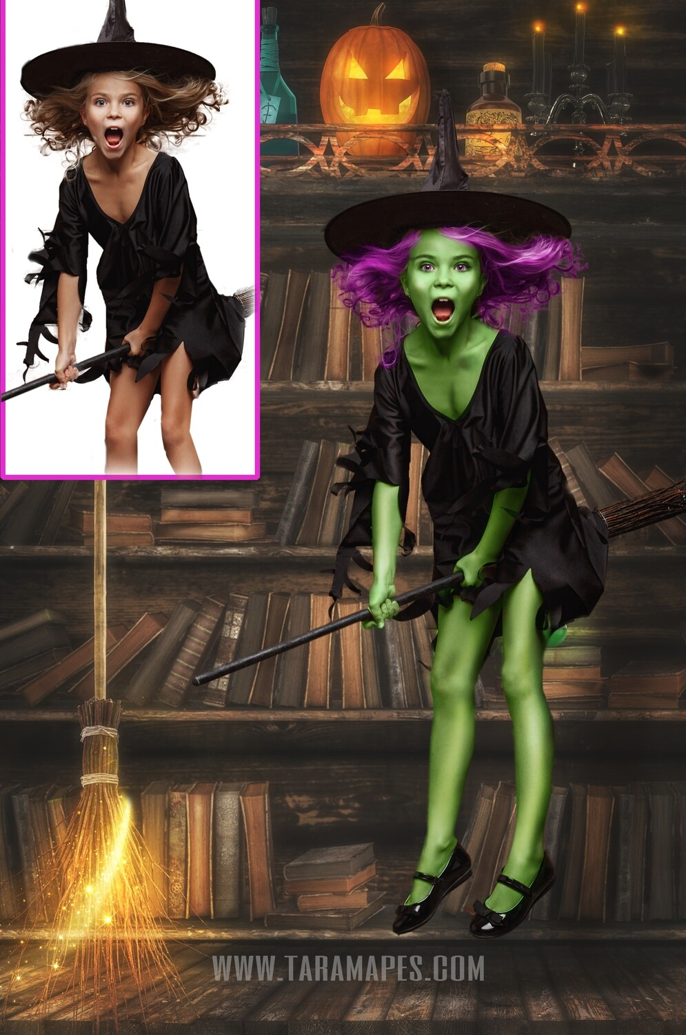 The Witch Bookcase Painterly Fine Art Photoshop Tutorial by Tara Mapes