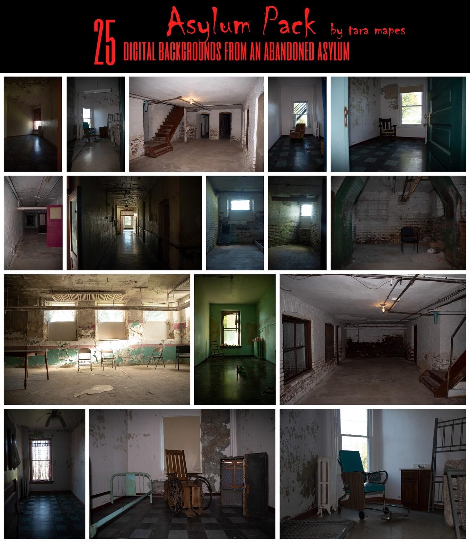 ASYLUM PACK - Haunted Abandoned Asylum Infirmary Digital Backgrounds - Halloween - Scary -Creepy - Digital Background / Backdrop