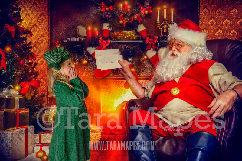 Letter to Santa - Santa with Letter - Santa by Fireplace with Envelope- Christmas Holiday Digital Background Backdrop