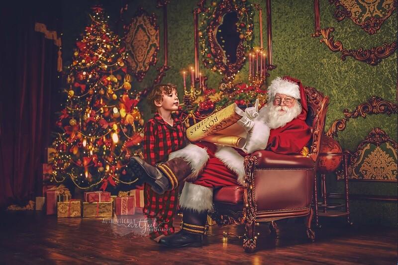 Santa by Fireplace Reading Good List - Santa Scroll - The Good List - Christmas Holiday Digital Background Backdrop