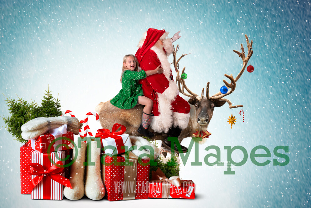 Rudolph Ride - Santa on Reindeer FREE SNOW OVERLAY - Santa Riding North Pole- Christmas Holiday Digital Background Backdrop