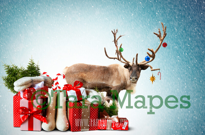 Rudolph Ride - Ride on Reindeer FREE SNOW OVERLAY - Santa Riding North Pole- Christmas Holiday Digital Background Backdrop