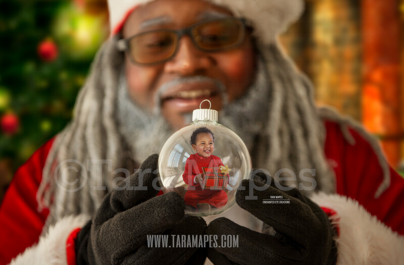 Black Santa's Ornament - African American Santa by Christmas Tree - LAYERED PSD! Santa by Tree with Ornament - Dreezy Claus Holiday Christmas Digital Background / Backdrop