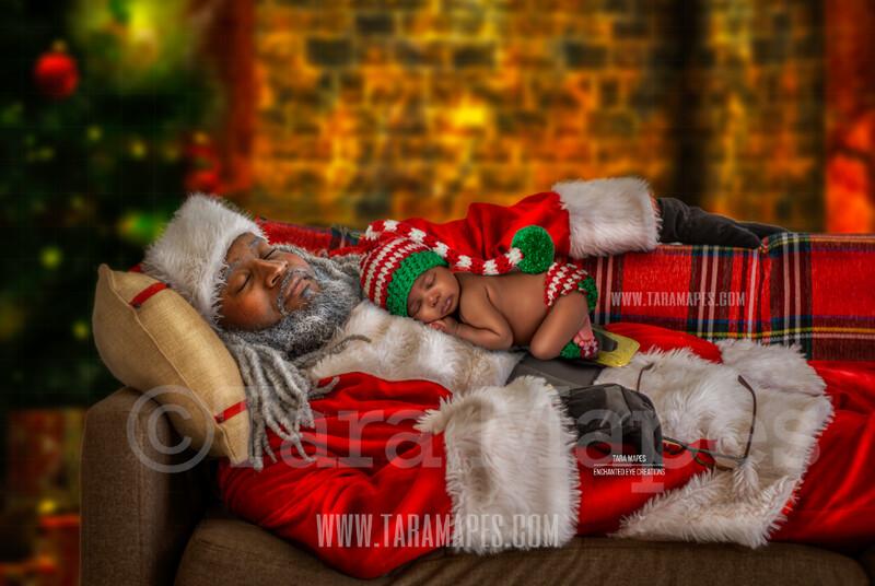 Sleeping Black Santa - African American Santa Sleeping on Couch- Newborn - Christmas Holiday Digital Background Backdrop