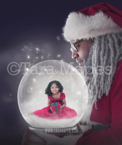 Black Santa Holding Snow Globe - LAYERED PSD! Snowglobe African American Santa - Snow Globe Santa Holiday Christmas Digital Background / Backdrop