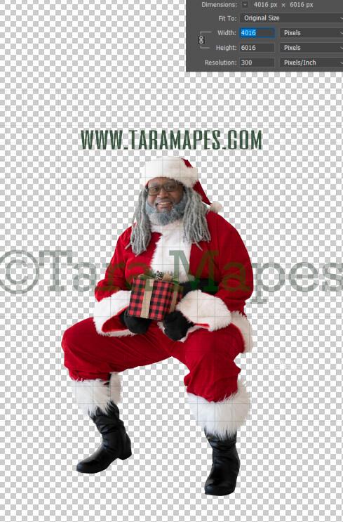 Black Santa Overlay PNG - African American Santa Overlay - Santa Clip Art - Santa Cut Out  - Christmas Overlay - Santa PNG - Christmas Overlay