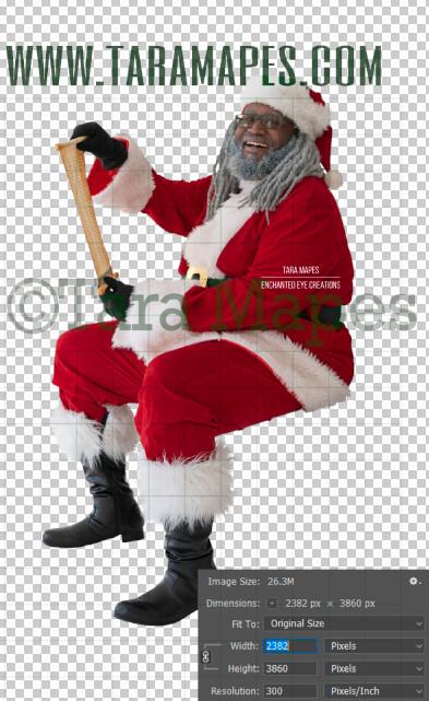 Black Santa Overlay PNG - African American Santa Overlay - Santa with Scroll Clip Art - Santa Cut Out  - Christmas Overlay - Santa PNG - Christmas Overlay