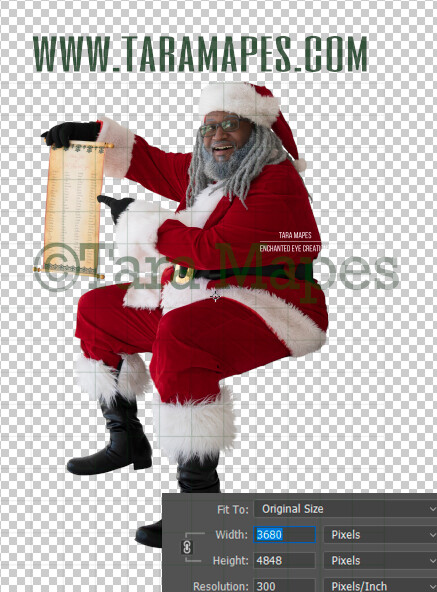 Black Santa Overlay PNG - African American Santa Overlay - Santa with Good List Clip Art - Santa Cut Out  - Christmas Overlay - Santa PNG - Christmas Overlay